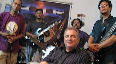 With rock group Cassini's Division in Calcutta, March 2008